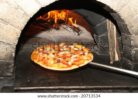 baking pizza - stock photo