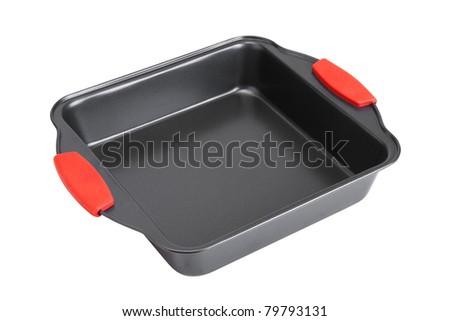 baking tin. isolated on white - stock photo
