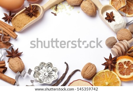 Baking utensils, spices and food ingredients with copy space. - stock photo