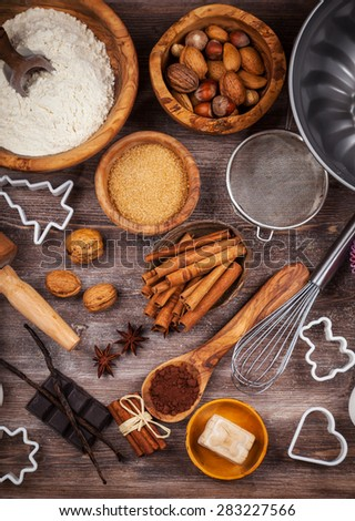 Baking utensils with ingredients for cake or cookies - stock photo