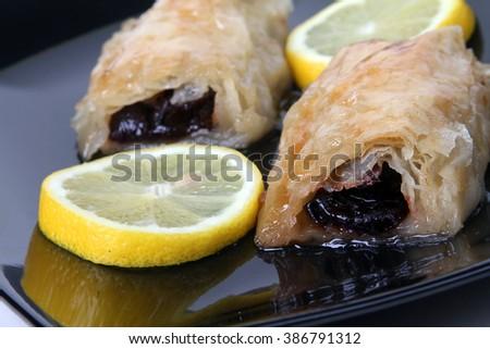 baklava - oriental sweet - Traditional Turkish food - stock photo
