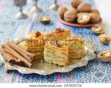 Baklava, traditional oriental sweets - stock photo