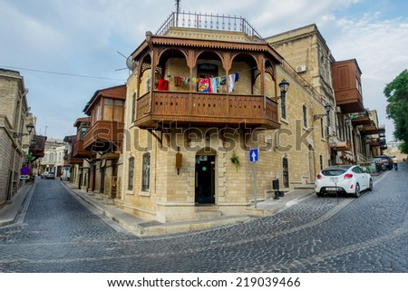 BAKU, AZERBAIJAN - JULY 24:Icheri Sheher (Old Town) of Baku, Azerbaijan, on July 24, 2014. Icheri Sheher is a UNESCO World Heritage Site since 2000. - stock photo