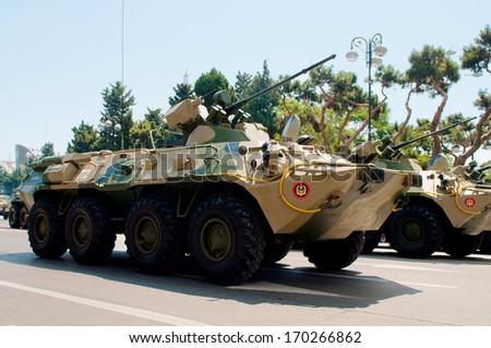 BAKU, AZERBAIJAN - JUNE 26, 2011 : Army Day Military Parade in Baku, Azerbaijan on June 26, 2011.  - stock photo