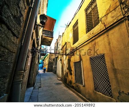 BAKU, AZERBAIJAN - June 12: Icheri Sheher (Old Town) of Baku, wide angle view lens. Azerbaijan, on June 12, 2014. Icheri Sheher is a UNESCO World Heritage Site since 2000.  - stock photo