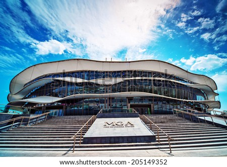 BAKU, AZERBAIJAN - JUNE 13-15, 2014. MGA, Milli gimnastika arenasi . Place for 30th European Tournament in Artistic Gymnastics . JUNE 13-15, 2014, Baku, Azerbaijan.  - stock photo