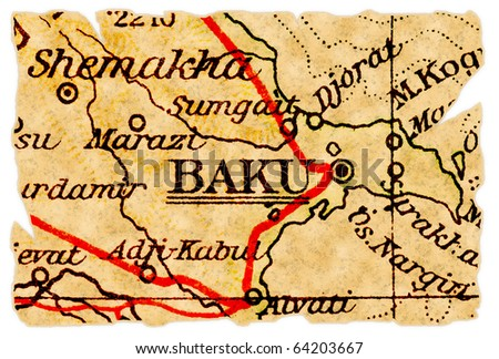 Baku, capital of Azerbaijan on an old torn map from 1949, isolated. Part of the old map series. - stock photo