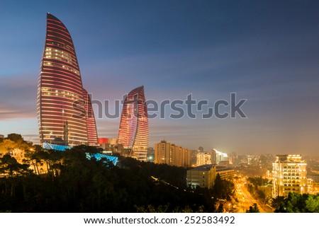 Baku - February 3 , 2015: Flame Towers on February 3 in Azerbaijan, Baku. Flame Towers are new skyscrapers in Baku, Azerbaijan - stock photo