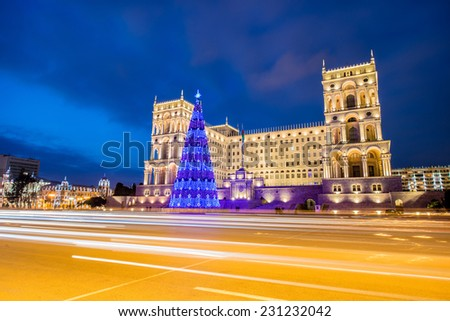 Baku - JANUARY 3, 2014: Government House on January 3 in Azerbaijan, Baku. Christmas Tree in front of the Government House - stock photo
