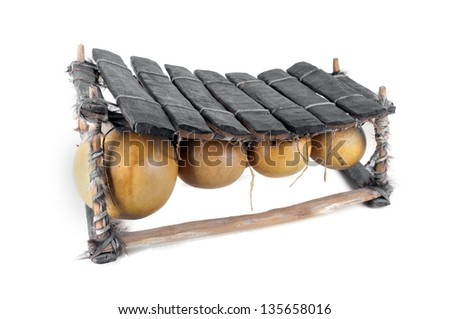 balafon, african musical instrument of wood and gourds, - stock photo