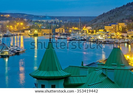 Balaklava Bay (district of Sevastopol) in evening. Black sea. Republic of Crimea - stock photo