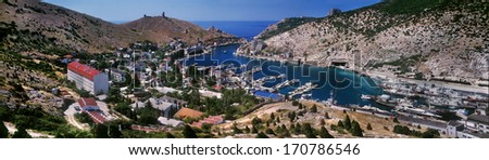 Balaklava Bay - one of the most sheltered bays in Black Sea for mooring ships, submarine base is narrow, there are no storms. Now Balaklava is a popular Crimean resort  spectacular cliffs of Cape Aya - stock photo
