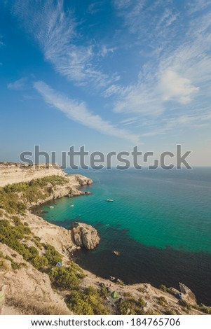 Balaklava town and Bay, Black sea, Crimea, Ukraine - stock photo