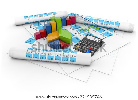 balance accounts concept: calculator, colorful graphics and pen over accounting papers isolated on white background - stock photo