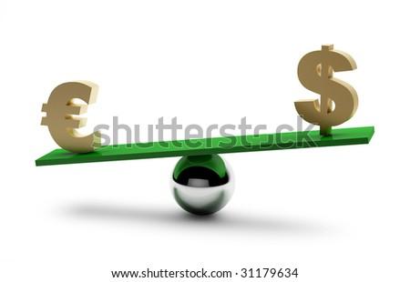 Balance of dollar and euro - stock photo