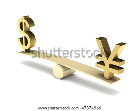 Balance of dollar and yen isolated on white background. High quality 3d render. - stock photo
