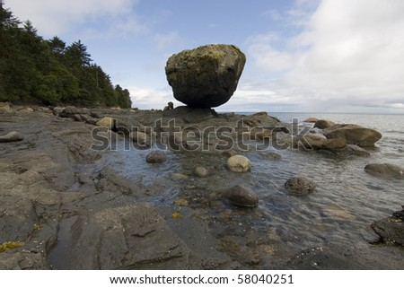 Balance rock on the Queen Charlotte Islands, Canada