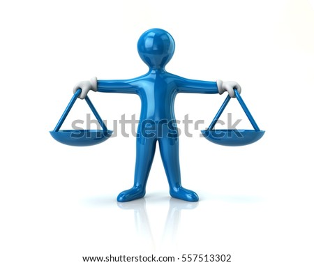 Balance scale blue man justice concept 3d illustration on white background