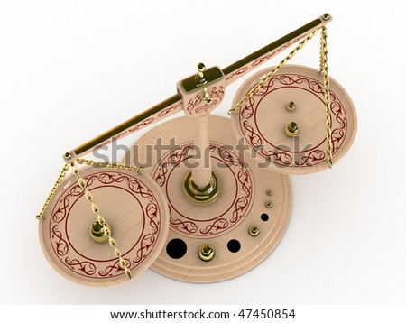 balance scale over white background 3d illustration