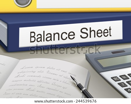 balance sheet binders isolated on the office table - stock photo
