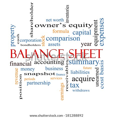 Balance Sheet Word Cloud Concept with great terms such as financial, assets, tax and more. - stock photo
