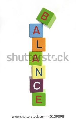Balance spell out in block letters isolated on white background