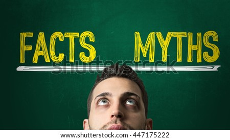 Balance with: Facts - Myths - stock photo