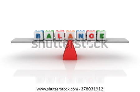 Balance Words Balancing on a Seesaw - Balance Concept - High Quality 3D Render   - stock photo