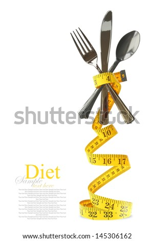 Balanced diet represented by a cutlery set with measuring tape - stock photo