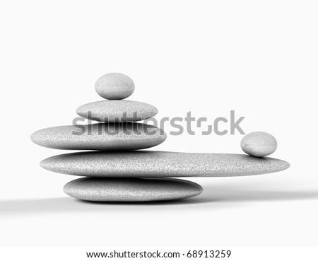 balanced grey stones isolated in white.Zen concept - stock photo