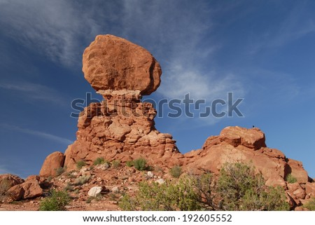 Balanced Rock at Arches National Park in Utah, USA - stock photo