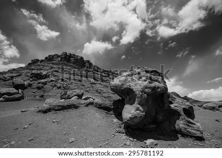 Balanced Rock Lees Ferry Coconino County Arizona Black and White Horizontal - stock photo