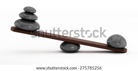 Balanced stones isolated on white background - stock photo