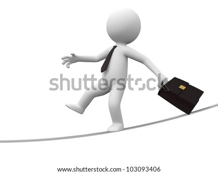 balancer/A 3d people is walking in steel wire - stock photo