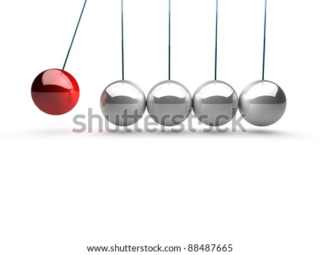 balancing balls newtons cradle over white background - stock photo