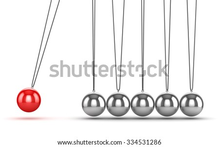 Balancing Balls Newtons Cradle , This is a computer generated and 3d rendered picture. - stock photo