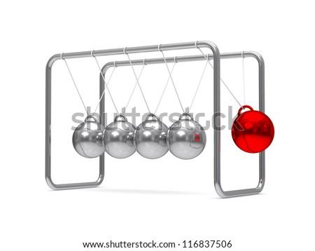 Balancing balls on white background. Isolated 3D image - stock photo