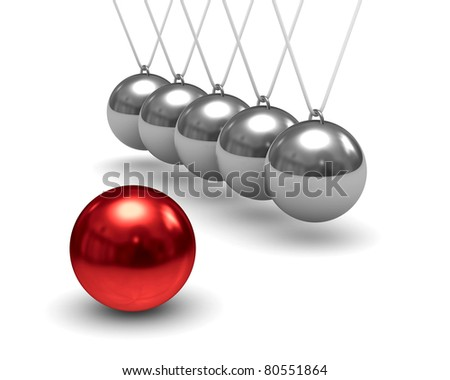 Balancing balls on white background. Isolated 3D image - stock photo