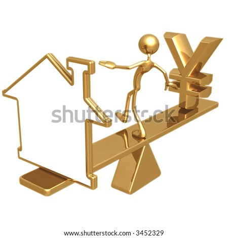Balancing Blank Home Symbol Outline Sign And Yen - stock photo