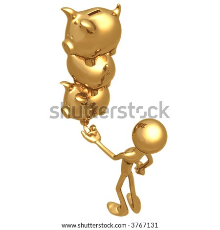 Balancing Golden Savings Investments Piggy Banks On Fingertip - stock photo