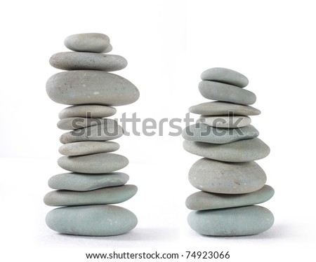 balancing nature stones isolated on a white