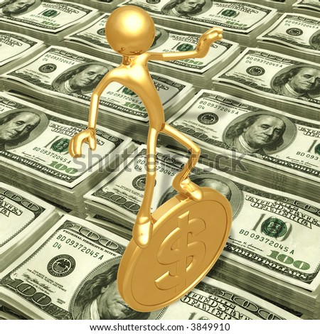 Balancing On A Gold Coin - stock photo