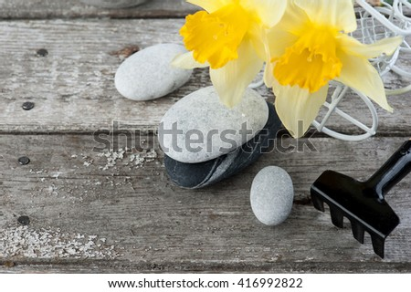 Balancing pebble stones and yellow flowers, ZEN Stone Garden on wooden background, spa tranquil scene concept  - stock photo