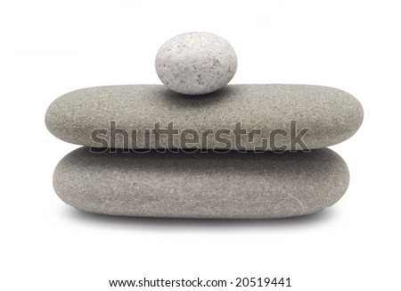 balancing pebbles isolated on white