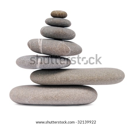 balancing stones islated on white