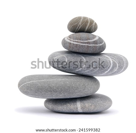 balancing stones isolated on white - stock photo