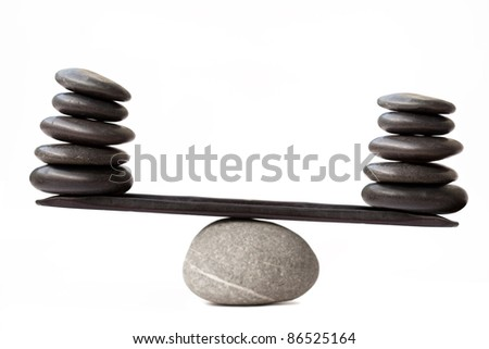 Balancing stones, isolated on white background
