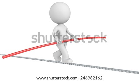 Balancing. The Dude balancing on a wire. Isolated. - stock photo