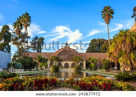 Balboa park Botanical building and pond San Diego, California USA - stock photo