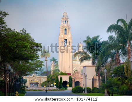 Balboa Park San Diego California, Bell Tower at Dawn - stock photo